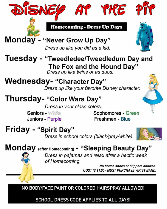 Homecoming dress-up schedule