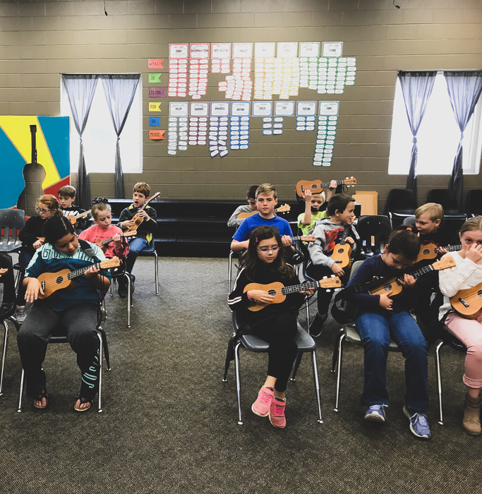 3rd Grade students learning the fundamentals of the Ukulele.