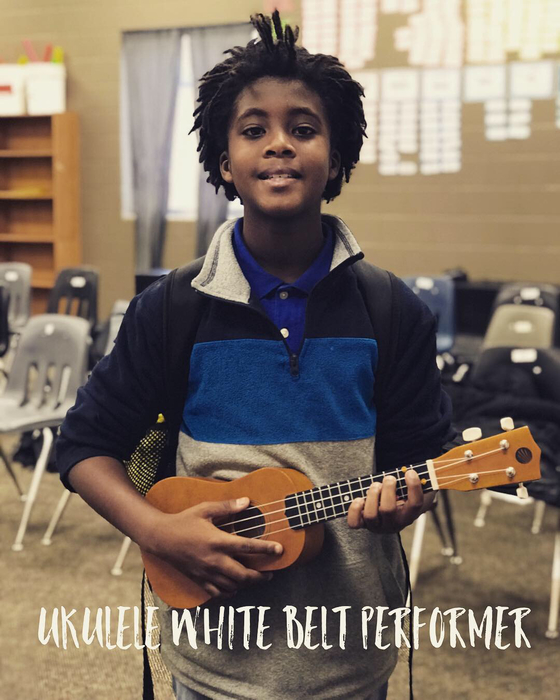Trey F. after passing his White-Belt Uke Challenge