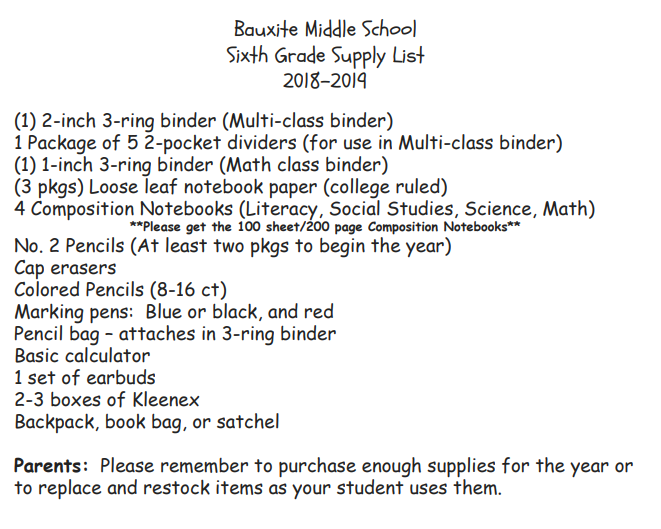 Bauxite Middle School Supply Lists 2018-2019