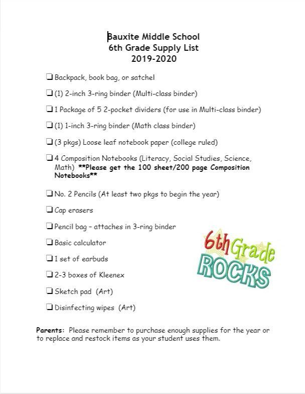 2019-2020 Sixth Grade Supply List