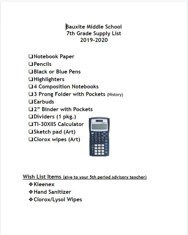 2019-2020 Seventh Grade Supply List