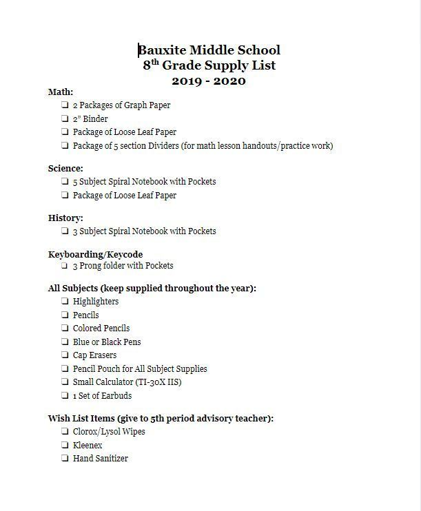 2019-2020 Eighth Grade Supply List